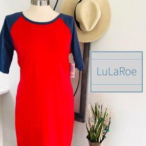 🆕 LuLaRoe Julia Dress Baseball Tee Print Large